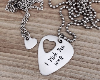 custom Hand stamped guitar pick necklace with cut out heart necklace I pick you his and her set stainless steel