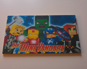 The mine avengers Inspired Minecraft Name Plaque Child's Bedroom Door