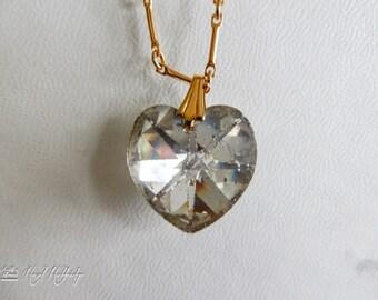 Clear AB Vitrail Crystal Heart Necklace