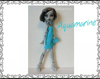Monster High Doll Clothes - AQUAMARINE Dress, Purse and Jewelry Set - Handmade Fashion by dolls4emma