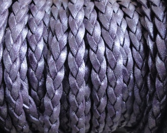 Metallic Berry Purple Flat Braided Leather Cord - 5mm Wide - 1 Yard Increments