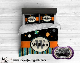 Space Galaxy Theme Bedding Custom Design and Personalized Comforter or Duvet with Monogram