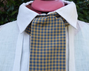 Blue and golden tan checked silk cravat, 19th century style