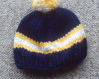 Hat,baby,photos,gift,shower,pom-pom,newborn-3 months,navy,yellow,white,infants,babies,newborns,3 months,knit