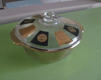 Vintage CERA for Fire King 2 Qt Casserole Dish With Lid In Coin Design Excellent Condition.