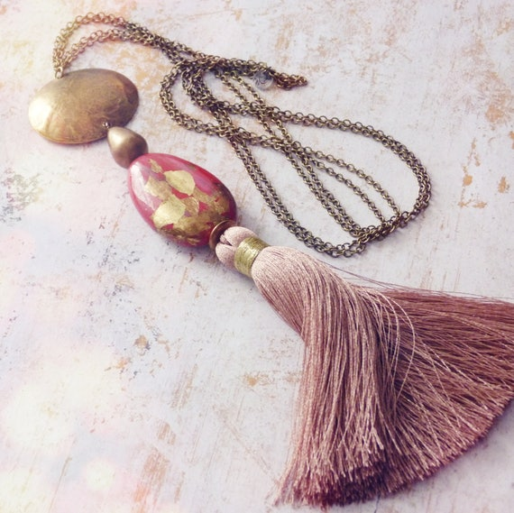 Blushing pink necklace,One-of-a-kind necklace,Boho chic necklace,Silk tassel necklace,Hand painted necklace,One-of-a-kind necklace