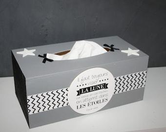 modern grey and black stars tissue box