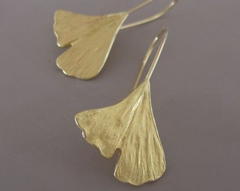 18k Yellow Gold Ginkgo Leaf Earrings, Gardening Gift