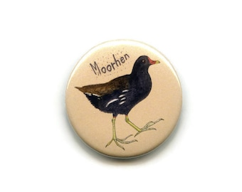 Moorhen Magnet, Water Bird 38mm Round Button Seabird Fridge Magnet, Memo Board Magnet,