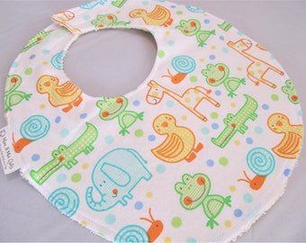 Boutique Bib for Baby or Toddler Boy or Girl - Hop On Over Ducks Frogs Giraffe Elephant - Neutral - Cotton Bib with hook & loop closure