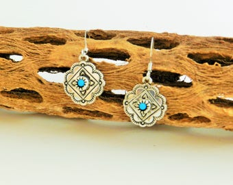Southwest silver plated antiqued earrings