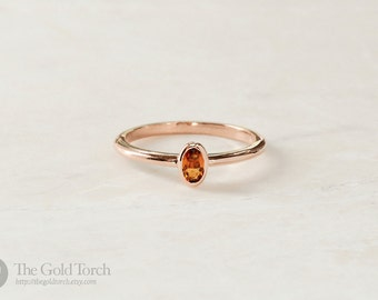 Stacking Ring, Oval Yellow Citrine Gold or Platinum 1.6mm Stackable Ring (Choice of Stones)