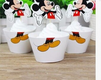 Mickey Mouse Cupcake Topper and Wrapper (12pcs Topper and 12 pcs Wrapper)