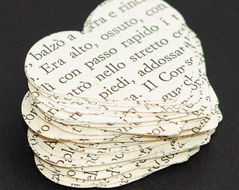 Italian Paper Hearts- 100 Italian hearts, Italian heart confetti, wedding decor, party decorations, table confetti, recycled paper hearts