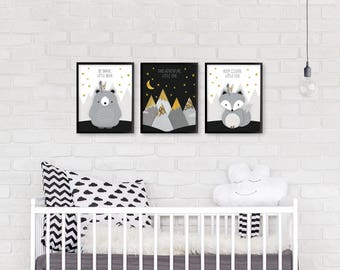 Woodland nursery, Nursery printable set of 3, Nursery print set, Monochrome nursery, Forest friends set, Fox, Bear, Nursery print, Printable