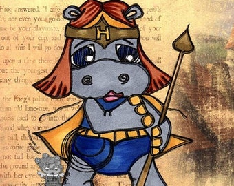 1651 Hippo Woman Digi Stamp