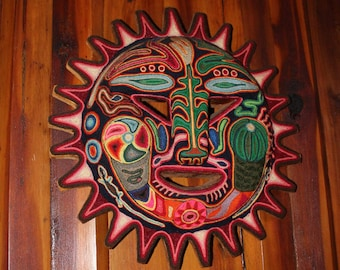 Vintage Huichol Indian Mexican Folk Art Sun Yarn Painting Signed
