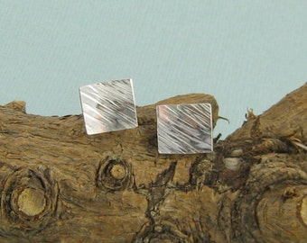 Sterling Silver Square Textured Post Earrings.  Sterling Silver Square Stud Earrings.  Small Silver Posts. Handmade Jewelry by ZaZing