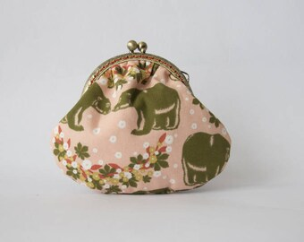 """Purse retro cotton flowers and bears on pink background, fabric """"soft cactus"""""""