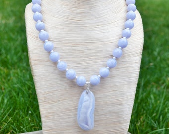 Blue Lace Agate Necklace SET, beaded with Argentium & Sterling Silver findings