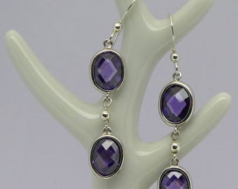 Amethyst-colour cubic zirconia sterling silver earrings, Sterling silver dangle 925 earrings with amethyst-colour CZ stones, amethyst colour