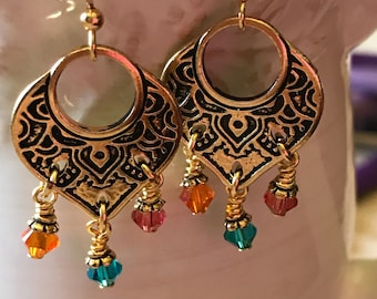 Bohemian Gypsy Swarovski  earrings/ Free Shipping/ Mother's Day Gift/Gift for her