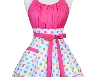 Flirty Chic Pinup Apron - Birthday Confetti Pink Polka Dots Apron - Womens Sexy Cute Retro Kitchen Apron with Pocket - Monogram Option