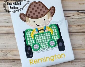 Farm boy tractor applique embroidery design