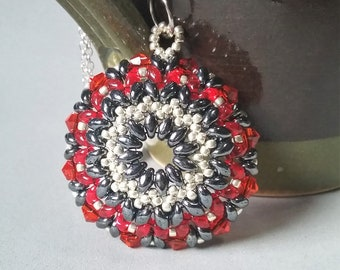 Hematite red and silver beaded shield mandala pendant with seed beads superduos and crystals date night jewelry gift for women and girls