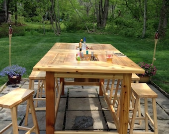 Outdoor Cedar Table with Copper ice wells / flower pots