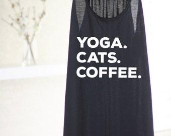 Yoga Cats Coffee - Womens Yoga Tank Top - Yoga Top - Yoga Tank Top - Yoga Gift - Gift For Yogi - Cat Lover - Cat Shirt - Yoga Clothes - Yoga