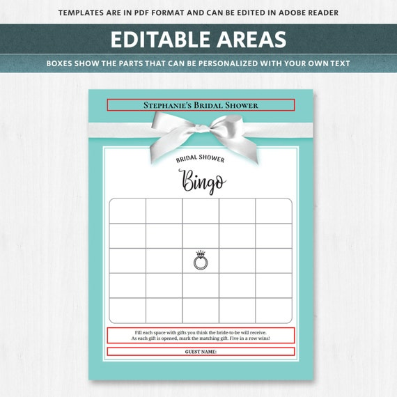 Bridal bingo bridal shower bingo game bridal shower gift