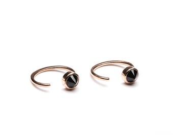 Tiny Black Spinel Hug Hoops, Sterling Silver Gold Plated, Hugging Hoop Earrings, Open Hoops, Minimal Lunaijewelry, Gift for Mom, EAR030BSP