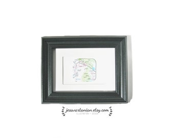 Custom Map Square Art in a Black Frame. 5x7.