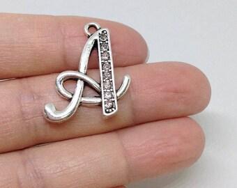 1 Pieces A-Z RHINESTONE Swarovski Crystal Script Initial Charm, Alphabetical charm, Letter Charm, Add an Initial charm, Personalized Charm