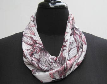 White and pink Infinity scarf, white scarf, pink scarf, white infinity scarf, boho scarf, floral scarf, flowers scarf, woman's circle scarf