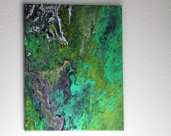 Abstract Acrylic Flow Painting - In the Green