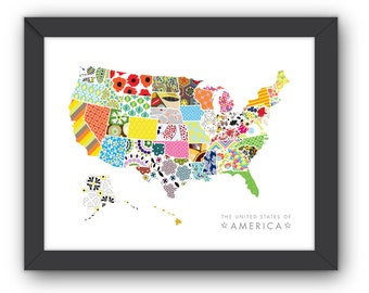 Art Print - Swatch USA Illustration - JPress Designs, bright, colorful, pattern, illustration, USA, print, nursery, art, print, child