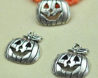 Pumpkin Charms,Hallowmas Pendants.30pcs Antique Silver Pumpkin Charm Pendants 16x18mm