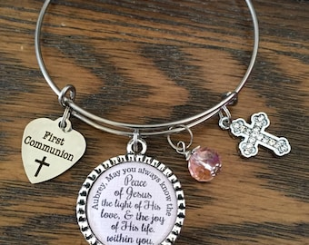 FIRST Holy  COMMUNION GIFT,  Baptism Gift, Girls First Communion Jewelry, Initial Jewelry, Religious Bracelet, Christian Catholic Jewelry