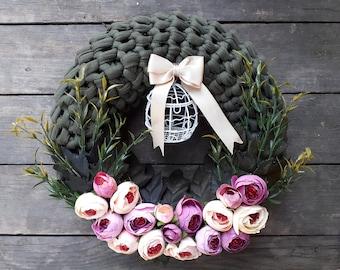 Door Trim, Khaki Door Trim, Door Accessory, Flowers Door Trim, Knitting Door Trim