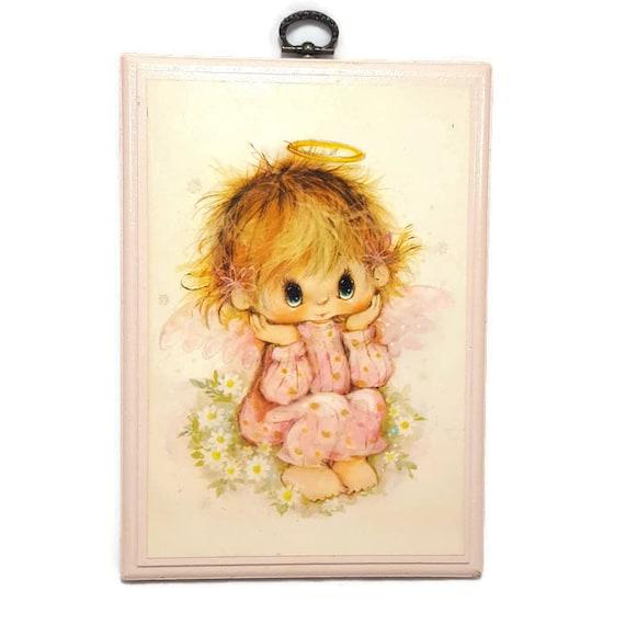 Vintage Little Angel Wood Wall Plaque Vintage Hallmark Pink