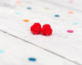 Red Rose Earrings | Nickel Free Jewellery | Floral Earrings | Flower Jewellery | 50s Style Rockabilly