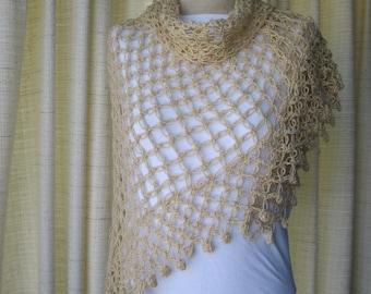 GLAMOUR in Gold: Shimmering Crochet SHAWL Wrap / Feminine Gift