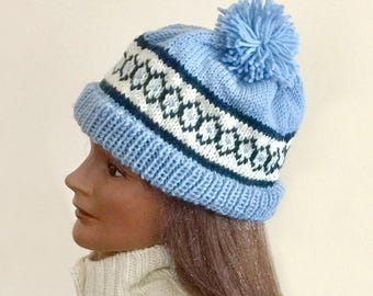 Hand knit wool cap, Fair Isle design beanie, navy and white on pale blue, hand knit hat, womens and mens hat