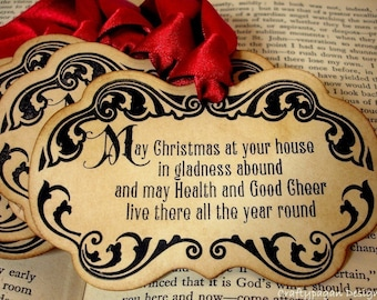 Christmas Prayer Gift Tags/Labels/Hang Tags Luxe-SET of 6-Choice of Ribbon