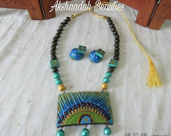 Beautiful Terracotta Necklace / Terracotta Beads Pendant Chain Set