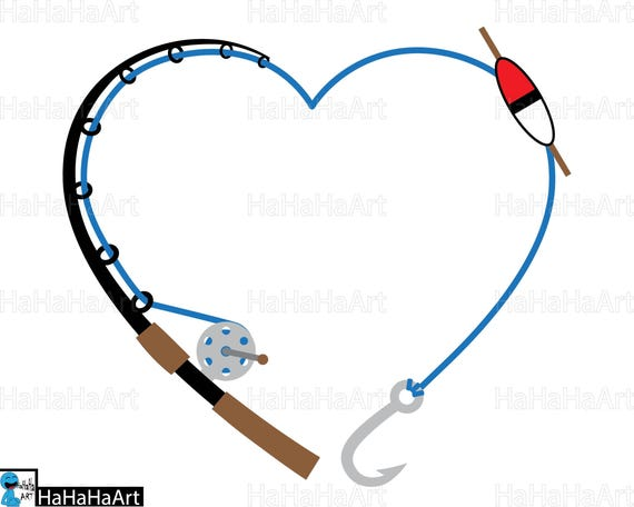 heart fishing rod clipart cutting files svg png jpg dxf rh etsy com fishing rods clip art fishing pole clip art black and white