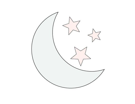 7 W String Art Moon With 3 Stars Pattern / Template