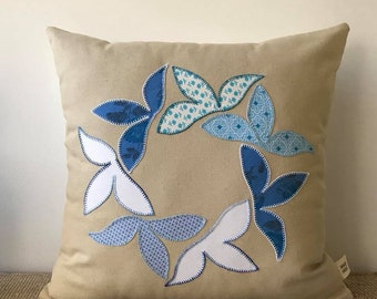 Patchwork Pillow Circle of Leaves
